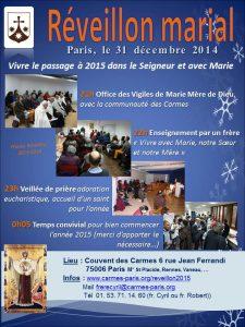 Tract Réveillon marial Paris 2015
